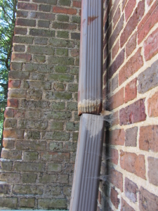 Example of algae growth caused by back splash from unattached downspout.