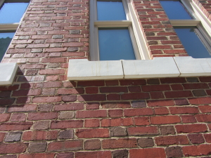 Example of proper repointing that matches historic mortar composition,